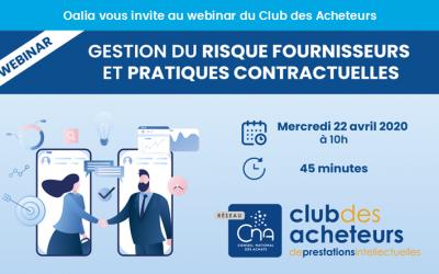 Oalia participe au Webinar du Club des Acheteurs Mercredi 22 avril 2020 à 10h00